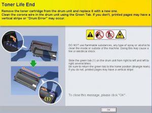 Sửa lỗi máy in Brother báo đèn vàng - Toner life end